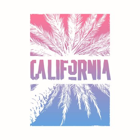 Graphic t-shirt design on the topic of California with stylized palm tree. Vector illustration. Standard-Bild - 127969938