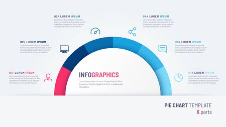 Vector pie chart infographic template in the form of semicircle divided by six parts
