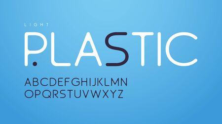 Trendy rounded slim style vector alphabet, uppercase letter set, font, typography Standard-Bild - 130026304