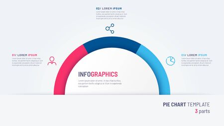 Vector pie chart infographic template in the form of semicircle divided by three parts Stock fotó - 130026306