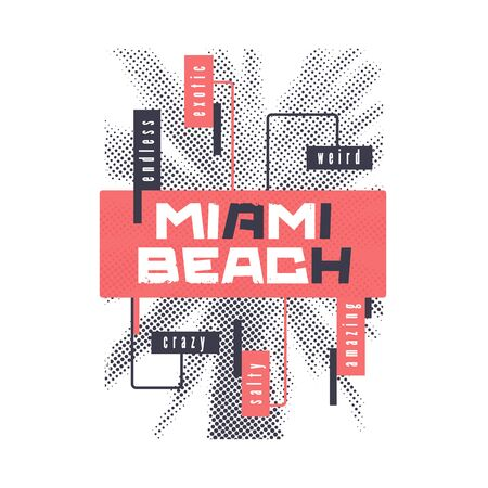 Miami beach. Graphic summer t-shirt design with the stylized palm tree. Vector illustration