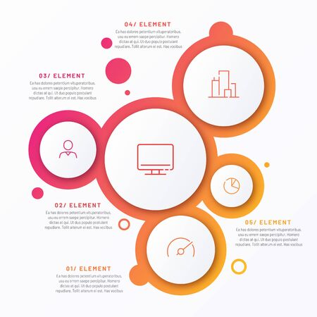 Abstract vector gradient minimalistic infographic template composed of 5 circles. Ilustração