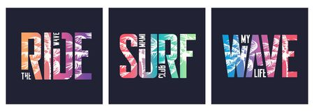 Collection of three vector graphic t-shirt designs, typography, prints on the topic of sufing.