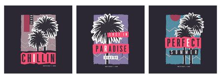 Collection of three zine style vector graphic t-shirt designs on the topic of summer