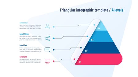 Vector infographic template in the shape of triangle, pyramid divided by 4 parts Stock fotó - 130026323