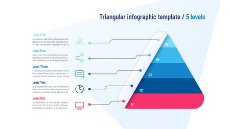 Vector infographic template in the shape of triangle, pyramid divided by 5 parts Standard-Bild - 130026324
