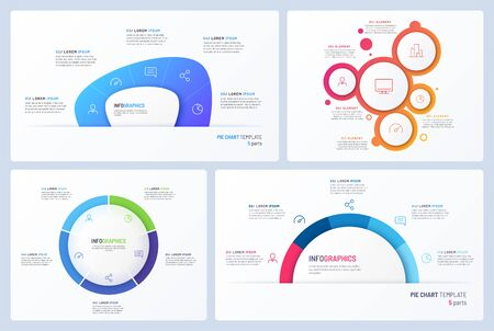 Set of minimal vector infographic templates. 5 options.