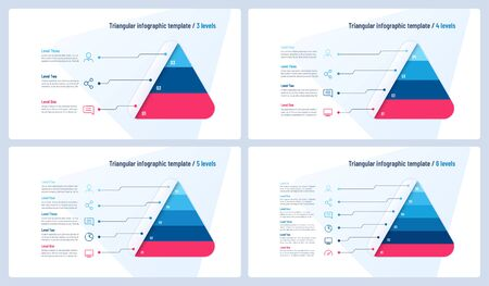 Vector infographic templates in the shape of triangle, pyramid