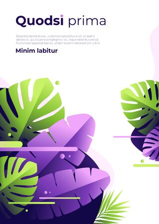 Abstract tropical vector background, brochure template, cover design, colorful poster Standard-Bild - 130026353