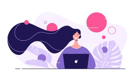 Vector flat style illustration of a young beautiful woman with laptop surrounded by tropical leaves 写真素材 - 130026402