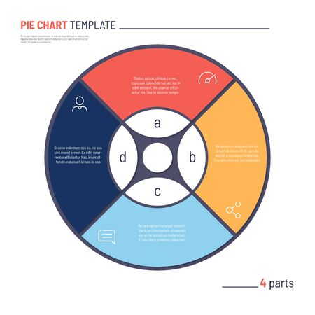 Vector infographic circle chart template. Four parts