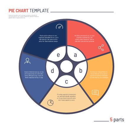 Vector infographic circle chart template. Five parts