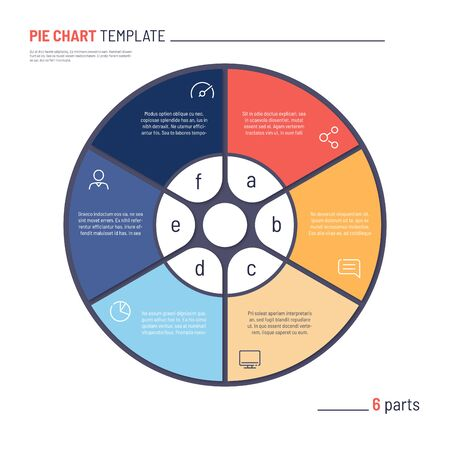 Vector infographic circle chart template. Six parts 일러스트