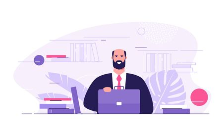 Vector flat style illustration of a lawyer, professor, businessman with the briefacse surrounded by books