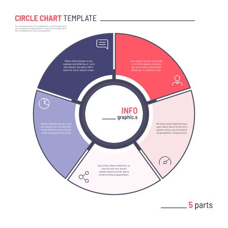 Vector infographic circle chart template. Five parts Фото со стока - 130026410