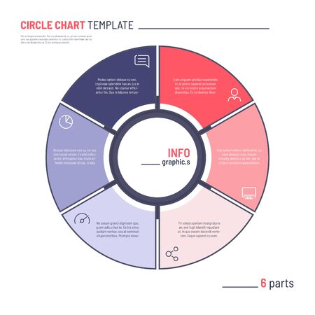 Vector infographic circle chart template. Six parts.