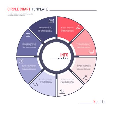 Vector infographic circle chart template. Eight parts.