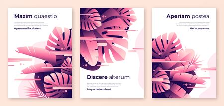 Abstract tropical vector backgrounds, brochure templates, cover designs, colorful posters. Иллюстрация