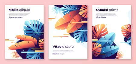 Abstract tropical vector backgrounds, brochure templates, cover designs, colorful posters