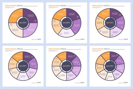 Set of vector infographic circle chart templates. 4 5 6 7 8 9 parts.