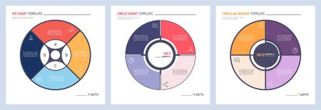 Set of vector infographic circle chart templates. 4 parts 일러스트