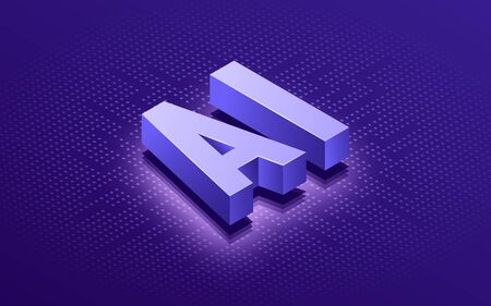 Artificial intelligence AI isometric typographic vector background