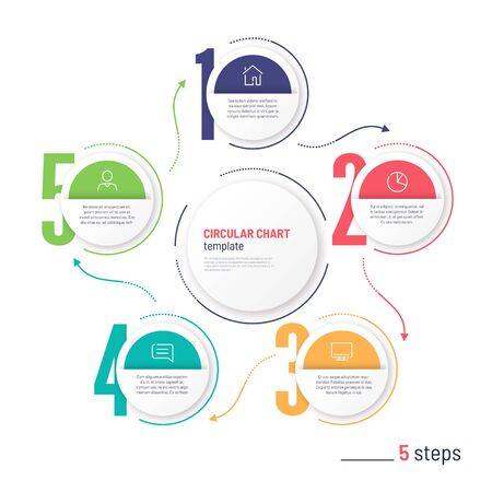 Vector infographic numbered process circular chart template. Five steps Standard-Bild - 131214566