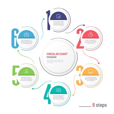 Vector infographic numbered process circular chart template. Six steps Standard-Bild - 131214302