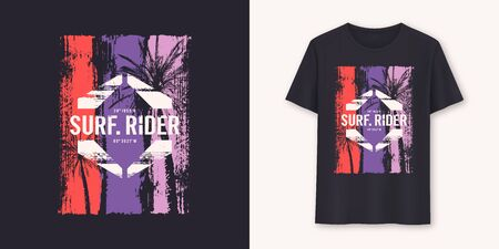 Surfrider stylish graphic tee vector design, print Standard-Bild - 132524740