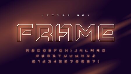 Glowing holographic uppercase letter set, vector alphabet, typography 向量圖像