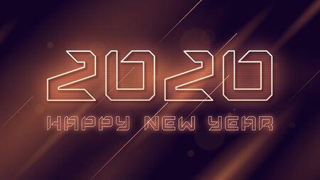 Happy New Year 2020 neon flashing vector design, template, background Standard-Bild - 132524741