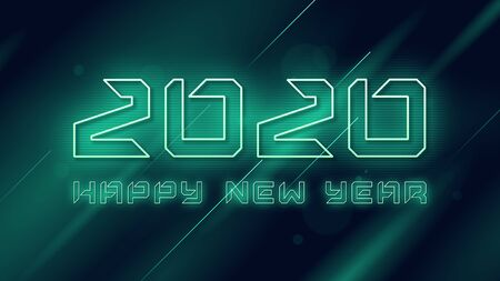 Happy New Year 2020 neon flashing vector design, template, background