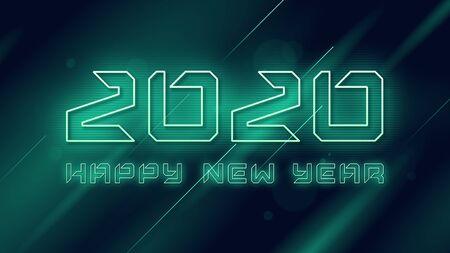Happy New Year 2020 neon flashing vector design, template, background Standard-Bild - 131326439