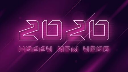 Happy New Year 2020 neon flashing vector design, template, background Standard-Bild - 132524742