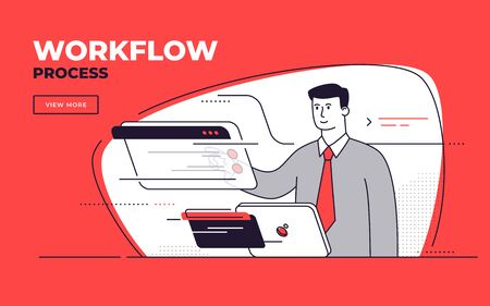 Vector flat style illustration on a workflow management, process efficiency, business control Standard-Bild - 132524744