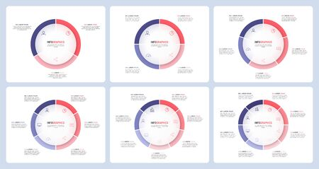 Pie chart infographic templates divided by 3 4 5 6 7 8 parts. Vector illustration Standard-Bild - 132586263
