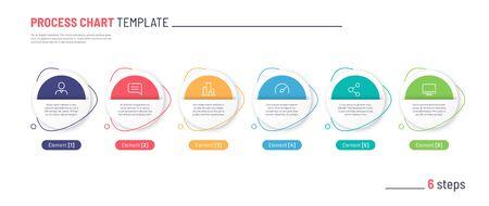 Vector infographic process chart template. Six steps. Standard-Bild - 132598745