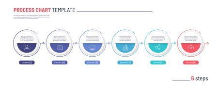 Vector infographic process chart template. Six steps. Standard-Bild - 132598711