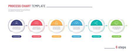 Vector infographic process chart template. Six steps. Standard-Bild - 132598751