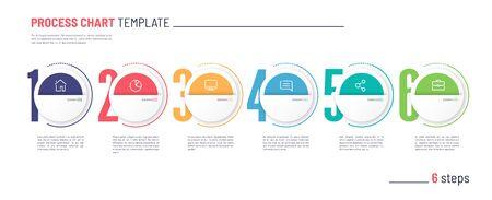 Vector infographic numbered process chart template. Six steps. Standard-Bild - 132598320