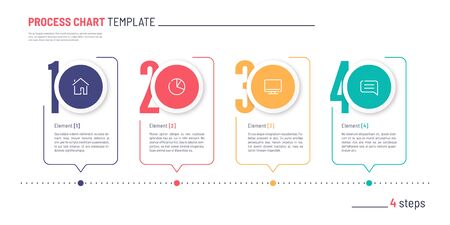 Vector infographic numbered process chart template. Four steps. Standard-Bild - 132598401
