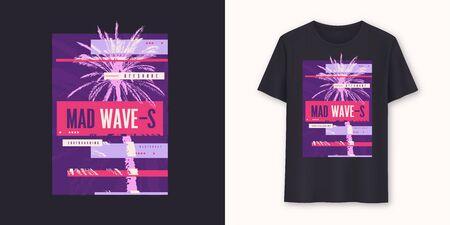 Mad waves stylish graphic tee vector design, print Standard-Bild - 133032628