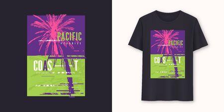 Pacific coast surfboarding stylish graphic tee vector design, print Standard-Bild - 133032389