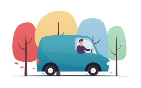 Vector flat style illustration of a young man driving by the van through the autumn forest Standard-Bild - 133031932