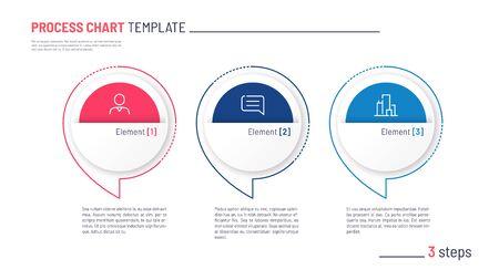 Vector infographic process chart template. Three steps Standard-Bild - 133032529