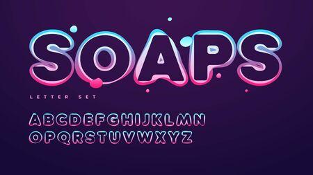 Funny soap vector alphabet, uppercase letter set, font, typography Standard-Bild - 133032802