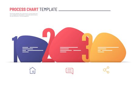 Vector infographic numbered process chart template. Three steps Standard-Bild - 133033179