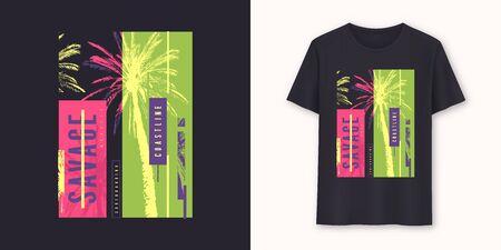 Savage coast stylish graphic tee vector design, print Standard-Bild - 133039578