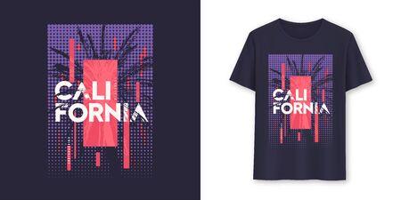 California stylish geometric graphic t-shirt vector design, poster, typography 일러스트