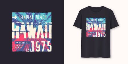 Hawaii Lanikai Beach stylish graphic tee vector design, print.  Ilustração